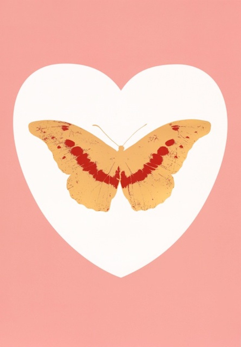 Damien Hirst - I Love You-white, pink, cool gold, poppy red 6/14