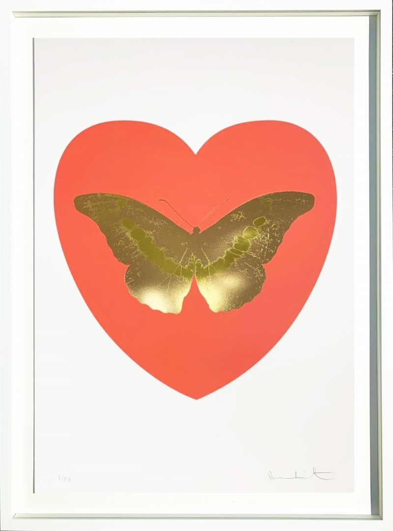 Damien Hirst - I Love You - coral, cool gold, oriental gold 2015 9/14